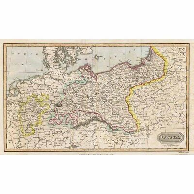 PRUSSIA Hand Coloured Antique Map 1826 by A Findlay