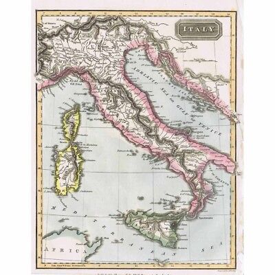 ITALY Hand Coloured Antique Map 1826 by A Findlay