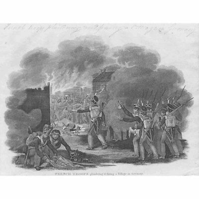 FRENCH REVOLUTIONARY WARS Plundering of German Village - Antique Print 1826