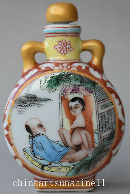 Old Porcelain Snuff Bottle Box Rare art deco delicate Chinese Collection Handmad