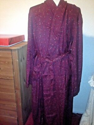 Tootal Red Paisley Smoking Cotton Dressing Gown Wrap Over Size 42