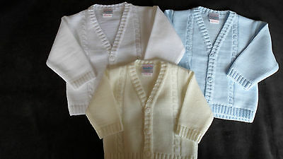 Baby Boys Cable Knit Cardigan in White, Blue or Ivory/Cream Wedding Christening