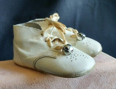 Vintage white Leather Baby Toddler Shoes for doll decor re-purpose OOAK projects