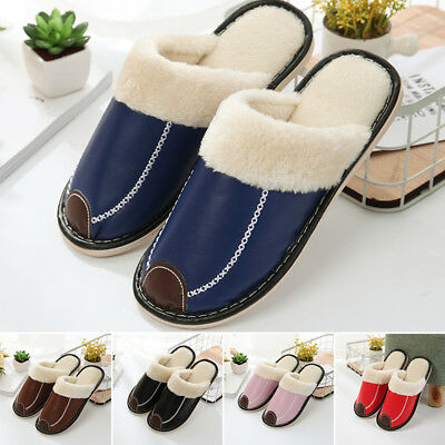Unisex Warm Home Slippers Leather Winter Indoor House Plush Slip On Shoes Size