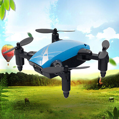 Mini 4-Axis 2.4GHz Foldable S9 RC Quadcopter Pocket Remote Control Drone Blue