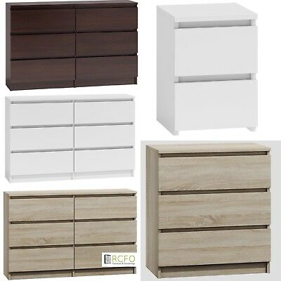 Ikea Style Chest Of Drawers Bedside Table Range Oak - White - Wenge Black- Gloss