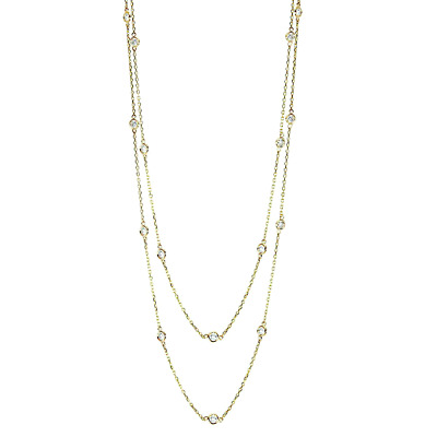 18K Yellow Gold Diamond Necklace By The Yard 36 Inches 1.50 Carats