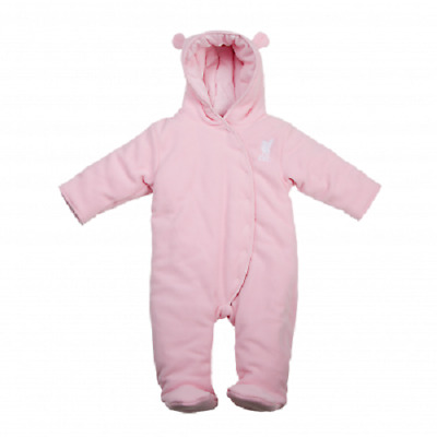 Liverpool Official Baby Snowsuit Pink. LFC Little Liver Pink Fleeced Snowsuit.