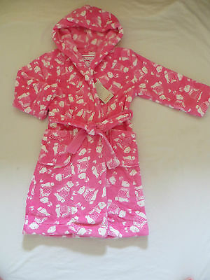 BNWT Girls Monsoon Hooded Pink White Bunny Fleece Dressing Gown Robe Age 7-8 yrs