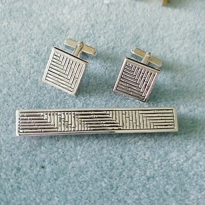e37df421035a Vintage Art Deco Signed SWANK Solid Sterling Silver Cufflinks & Tie Bar