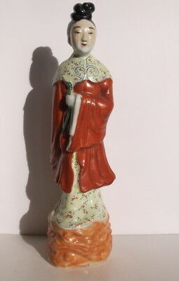 "Antique Chinese Republic Period Famille Rose Lady Statue Figurine 11.5""  Signed"