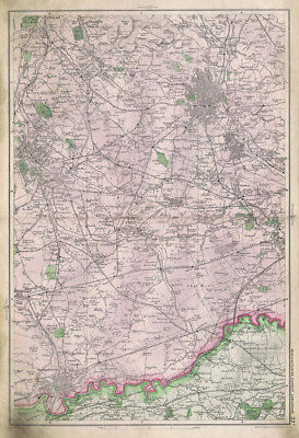 LANCASHIRE Manufacturing District Bolton, Linen Backed Antique Map c1900
