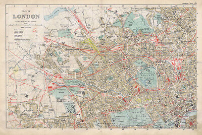 LONDON Street Plans, 4x Linen Backed Antique Maps by GW Bacon c1900