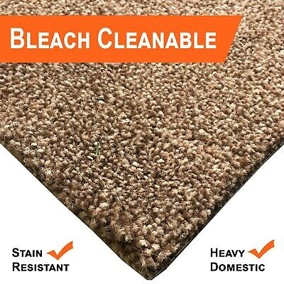 Bleach Cleanable Soft Saxony BROWN Carpet Hessian Back FAST FREE DELIVERY