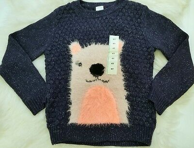 NEW Cat & Jack Toddler Girl 4T Nightfall SOFT Heavy Knit Sweater Navy Shimmer