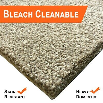 Bleach Cleanable Soft Saxony BEIGE Carpet Hessian Back FAST FREE DELIVERY
