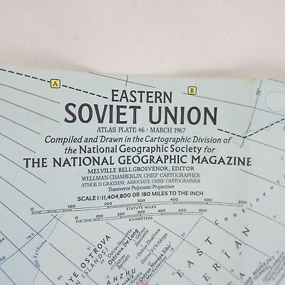 National Geographic Magazine Eastern Soviet Union Map from March 1967