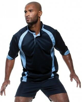 (Small, Navy / Gold) - Gamegear Sportswear Mens Cooltex Rugby Shirt. Best Price