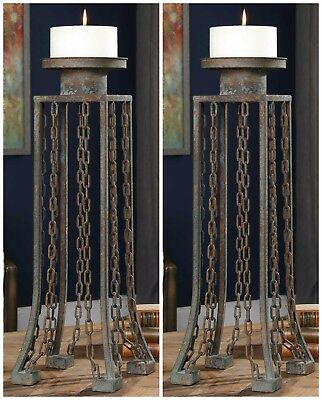 """Two Large 24"""" Aged Rust Iron Chain Detail Pillar Candle Holder Old World Rustic"""