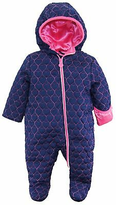 Wippette Baby Girls Footed Heart Quilted Jacket Winter Snowsuit Pram Bunting