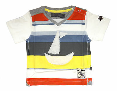 Ollie & Scott Boys Casual Off White Blue Yellow Striped Nalu Short Sleeve Tee EU