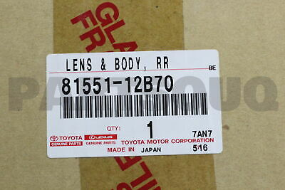 8155112B70 Genuine Toyota LENS & BODY, REAR COMBINATION LAMP, RH 81551-12B70