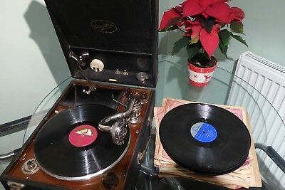 Vintage Edison bell Gramophones with 78 records Record player