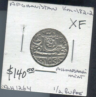 Afghanistan - Beautiful Konhandil Khan Hammered Silver 1/2 Rupee, Ah 1264 (1848)