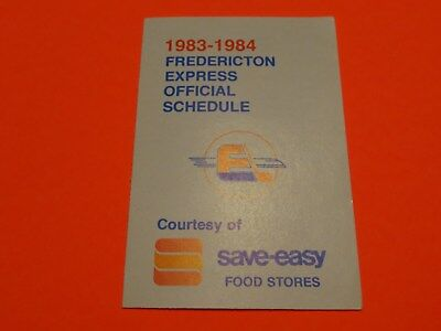 1983-84 AHL Pocket Schedule - Fredericton Express - Save-Easy