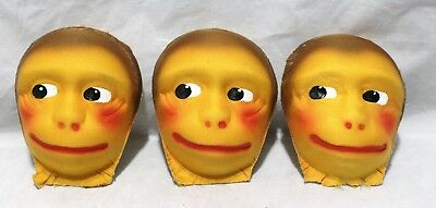 Set Of 3 Vintage Woven Cloth Monkey Doll Faces
