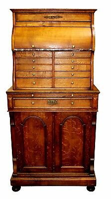 Antique English Aesthetic Movement Quartersawn Oak, Brass, Marble Dental Cabinet