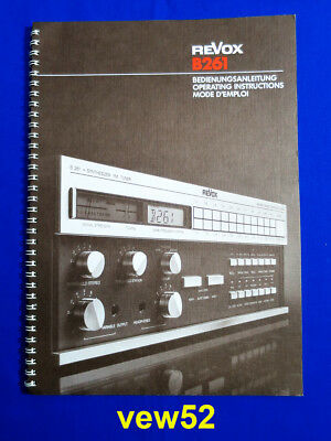 "Revox B261 ""bedienungsanleitung"" Owners Manual Mode D'emploi **as New** (047)"