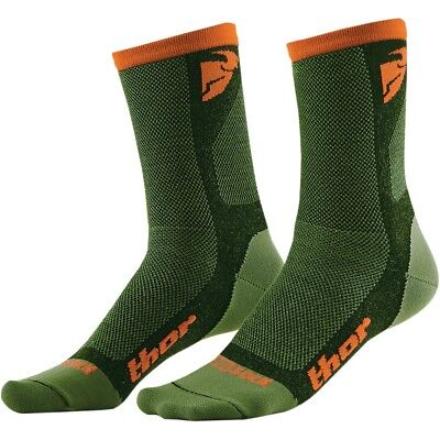 Thor Dual Sport Socks Motocross Enduro Socken Strümpfe grün/orange