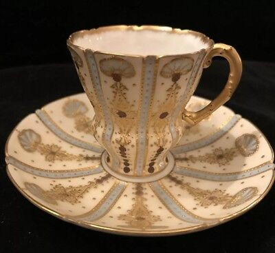 Antique Cabinet Cup & Saucer Jeweled Exquisite!