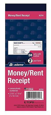 Adams Money/Rent Receipt Book, 2-Part, 50 Carbons, 2-3/4 x 7-3/16 Inches,...