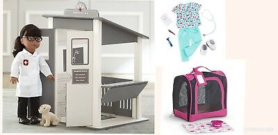 """Pottery Barn Kids 18"""" Doll Pet Hospital Vet clinic outfit American girl carrier"""