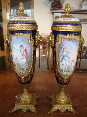 Stunning Pair Of Antique French Paris Porcelain Hand Painted Urn / Vases. C1850