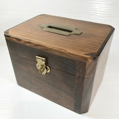Antique Wooden & Brass Coin / Ballot Box - Collectable Vintage Case Chest Crate