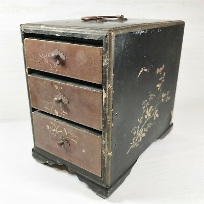 Antique Chinese Wooden Sewing / Jewellery Draw Box - Collectable Vintage Storage
