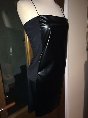 Sexy Mistress Governess Faux Leather PVC Stretch Dress Size 14 Bust 40ins (AA50)
