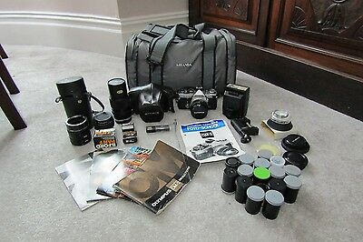 Olympus OM-2 Camera Bundle lenses film flash mixed lot and accessories Vintage
