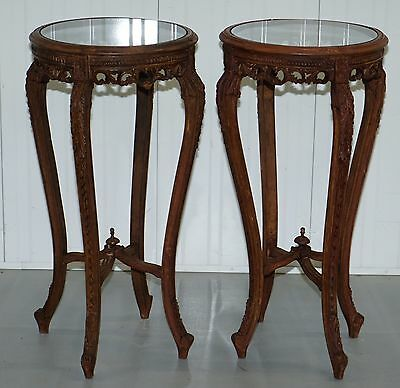 Pair Of Vintage Waxed Glass Topped Plant Bust Jardiniere Torchere Stands Columbs