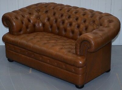 Vintage 40 Year Old Chesterfield Aged Tan Brown Leather Two Seater Club Sofa