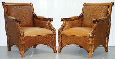 Vintage Pair Of Aged Brown Leather And Wicker Rattan Armchairs Lovely Curves