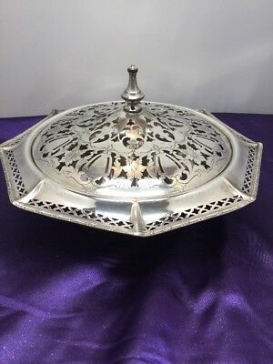 Vintage W. Mounts Homan Plate on Nickel Silver Covered Serving Dish, 02075