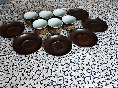 6 x Denby Arabesque tea Cups and Saucers