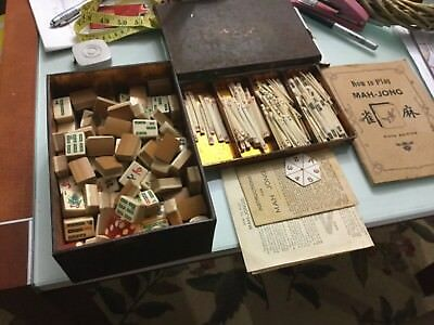 Vintage MAHJONG SET 152 bone and bamboo tiles in cloth case PRICE REDUCED