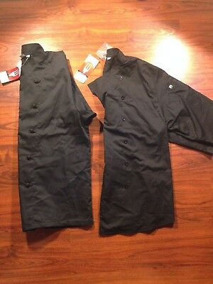 CHEF WORKS BLACK Large Chef Coat LOT w/ Large Short sleeve shirt button down NWT