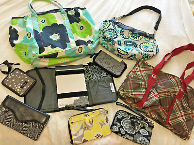 Lot of 9 Thirty-One Bags Large Tote Organizer Wristlet Zip Wallet Skirt Purse +