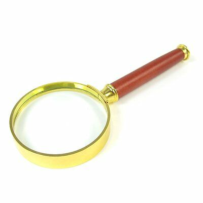 20X Gold Tone Metal Frame Rosewood Handle Grip Magnifying Lens Glass 50mm Dia LW
